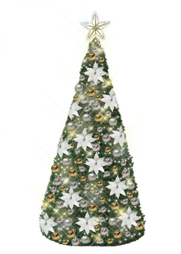 Silver and gold Christmas tree