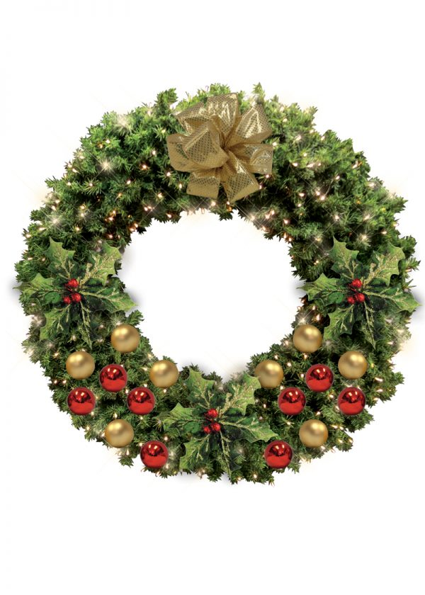 wreaths with gold and red decor