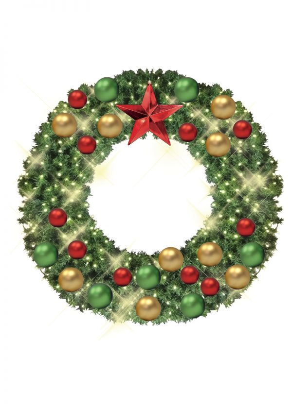 wreaths with gold, green and red decor