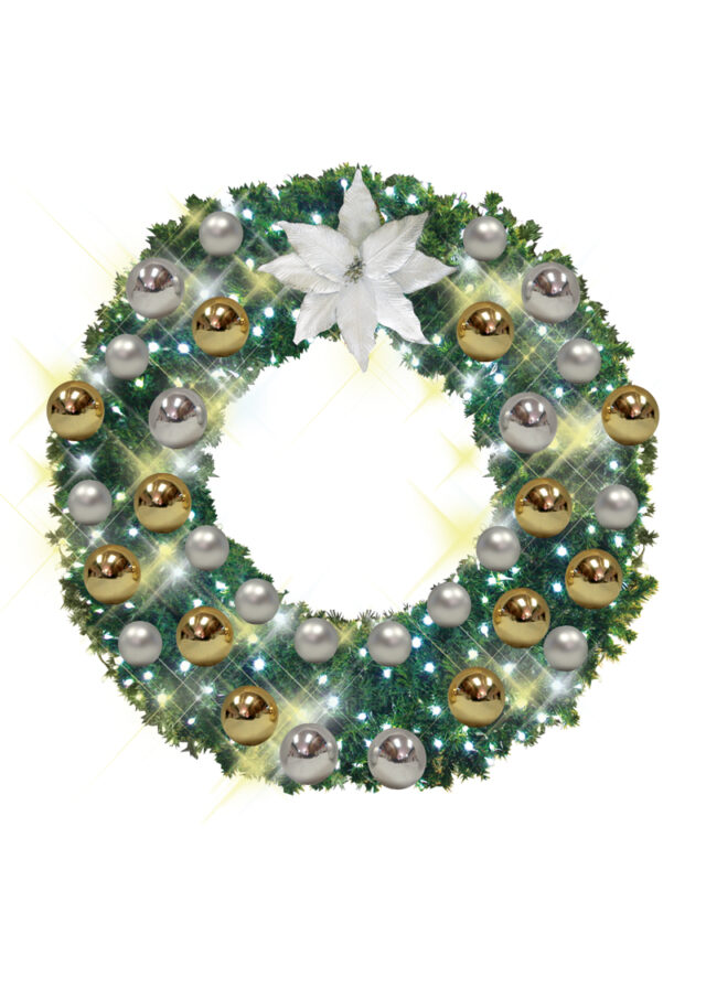 wreaths with gold and silver decor
