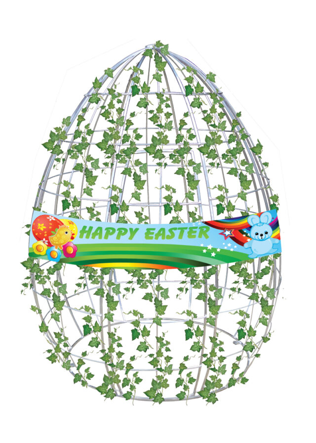 Hire Egg Frame with Ivy and Banner2
