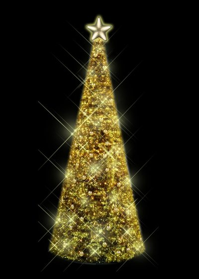 Gold Tinsel Tree with Baubles