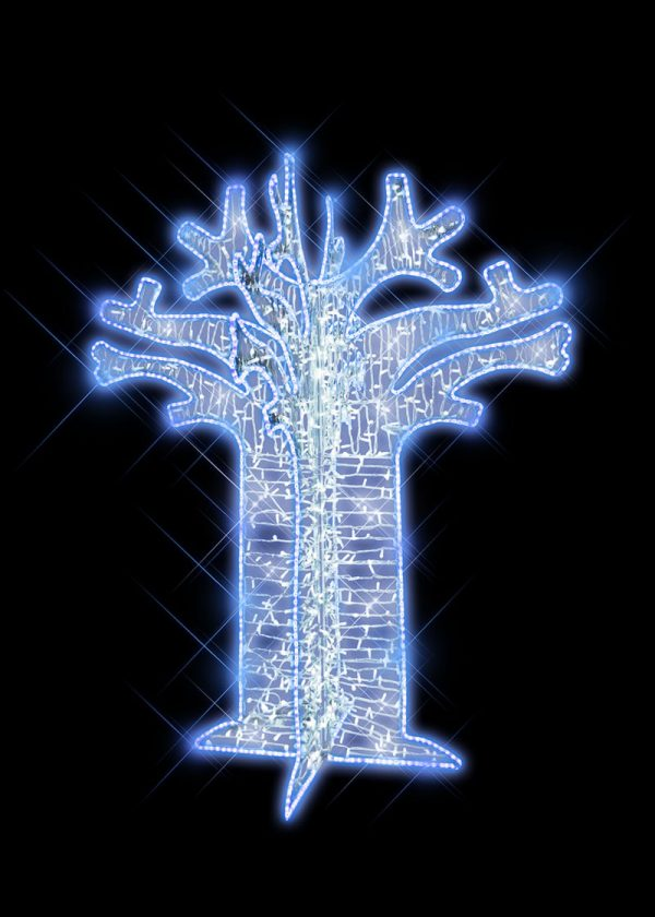 Cool White Illuminated Boabab Tree