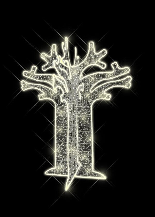 Warm White Illuminated Boabab Tree