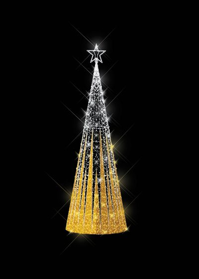Tinsel Light Tree Gold
