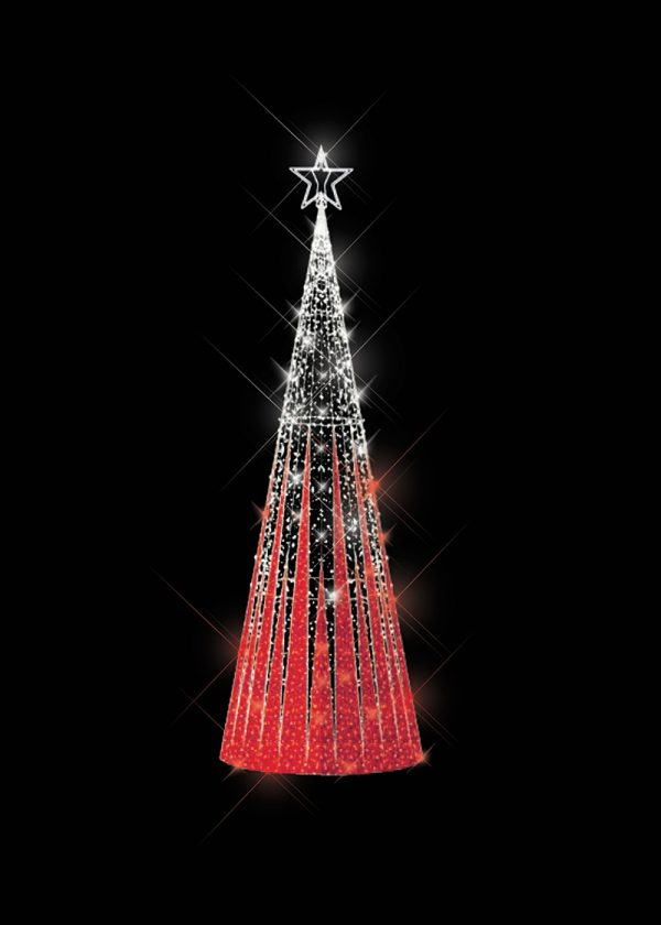 Tinsel Light Tree Red