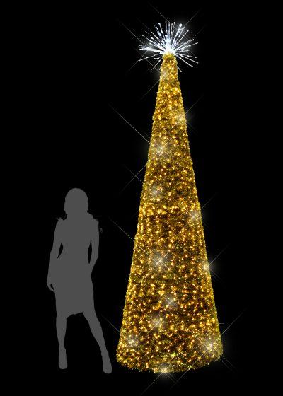 3m Gold Tinsel Tree