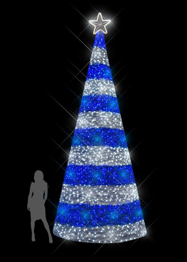 5m Stripe Blue Silver Tinsel Tree