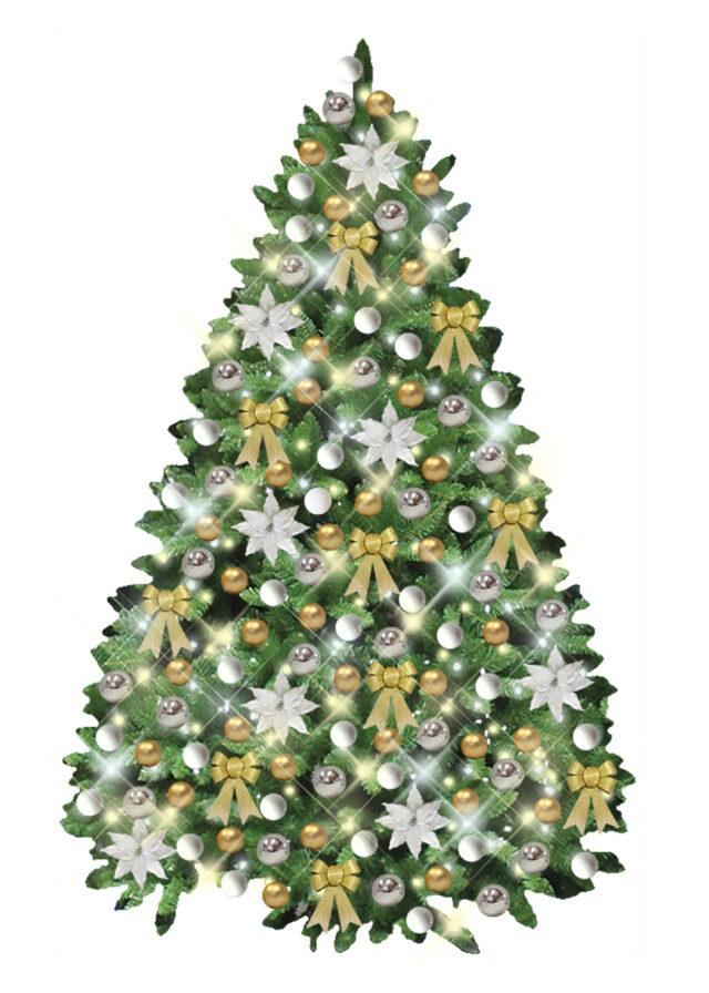 Christmas Branch Tree White Gold Silver Decor
