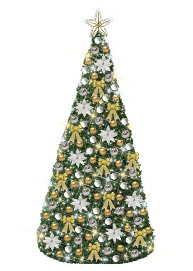 Christmas Conical Tree White Gold Silver Decor