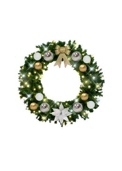 Christmas Wreath White Gold Silver Decor