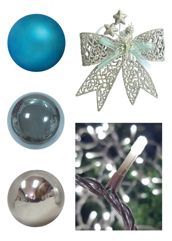 turquoise silver christmas decor