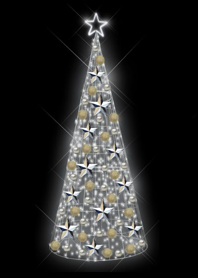 Cool White Light Tree Silver and Champagne Decor