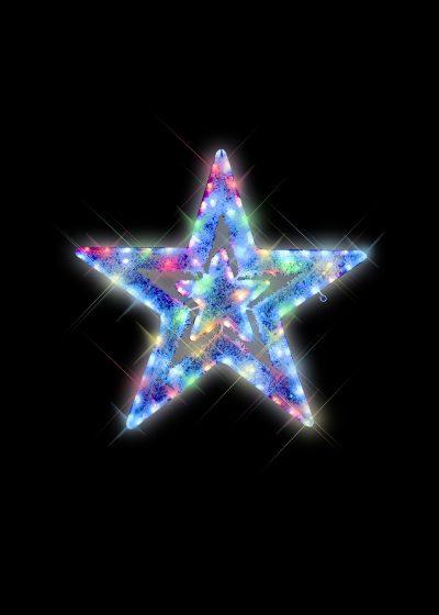 Multicolour White Tinsel Star