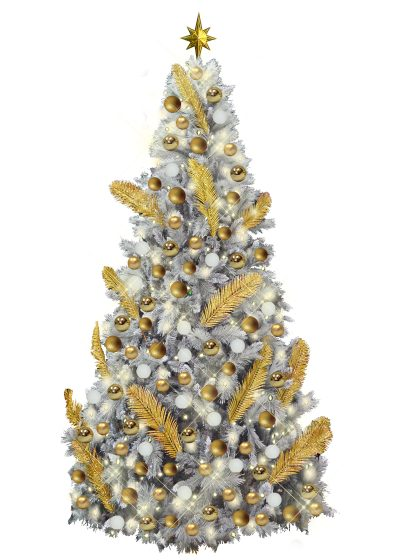 White Gold Christmas Decor Branch Tree