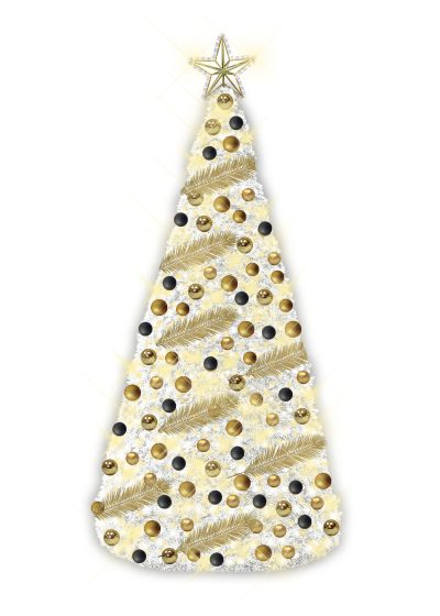 White Gold Christmas Conical Tree