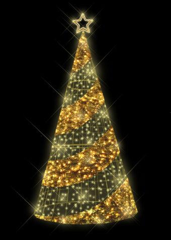 Gold Tinsel Light Tree