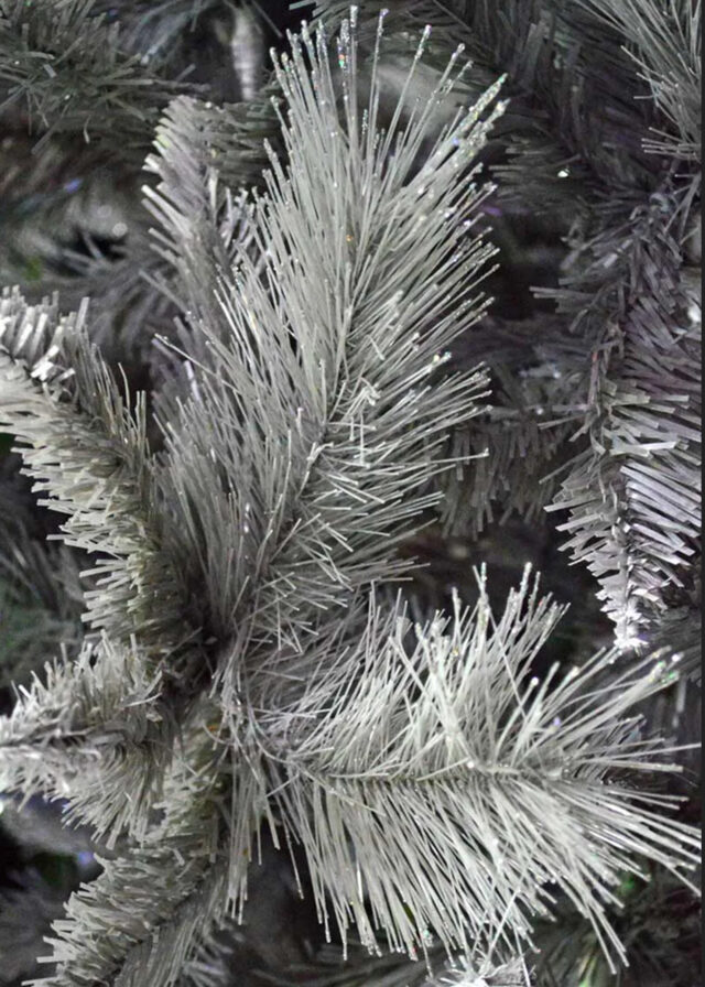 silver christmas tree closeup