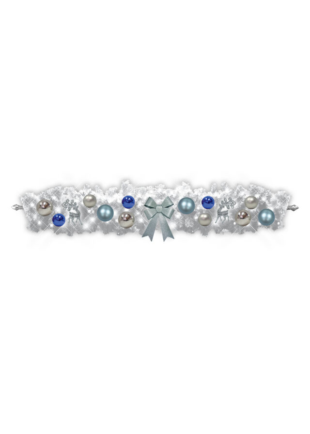 White Christmas Swag Blue Silver Decor