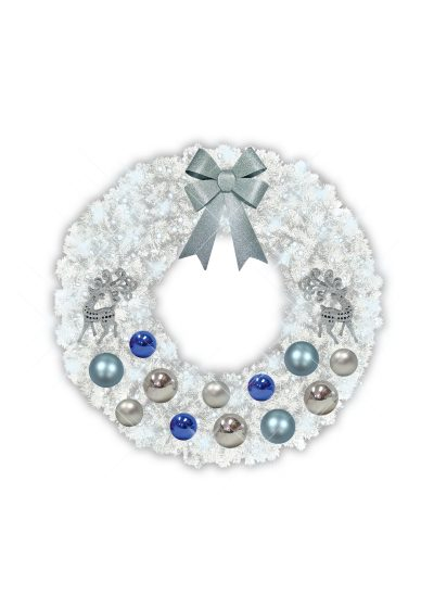 White garland wreath silver blue decor