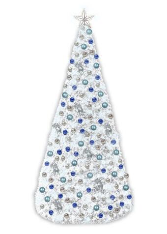 white garland conical tree blue silver decor