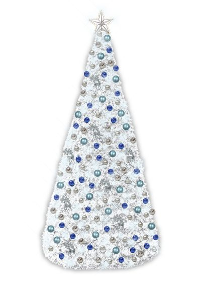 white garland conical tree blue silver decor