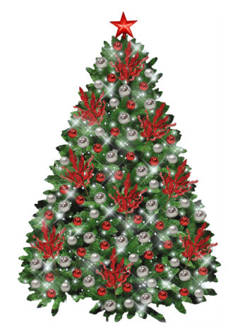 Silver Red Christmas Branch Tree