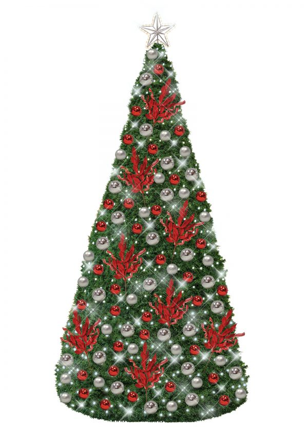 Silver Red CHristmas Conical Tree