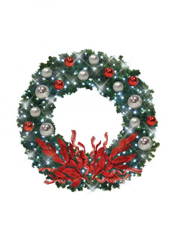 Silver Red Christmas Wreath